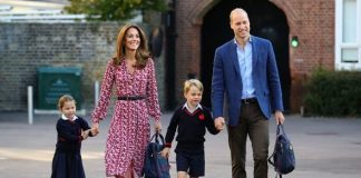 cropped Charlotte walked hand in hand with Kate on her first day of school Image GETTY