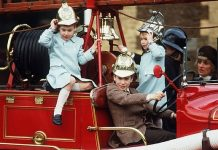 cropped Kensington Palace throwback snap shows Prince William and Prince Harry playing in a fire engine with Peter Phillips and Zara Tindall during a outing