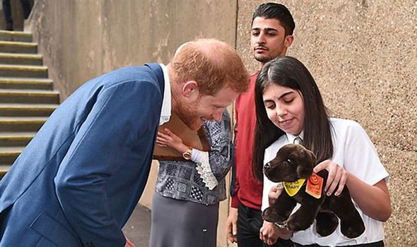 Aleyna Genc gave Prince Harry a toy dog for his baby son Archie Image Eamonn M McCormack Getty Images
