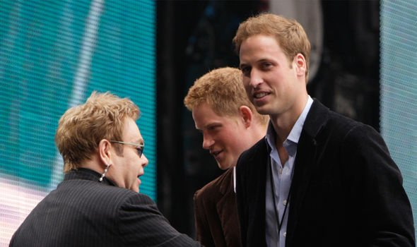 Elton with Dianas two sons Image GETTY