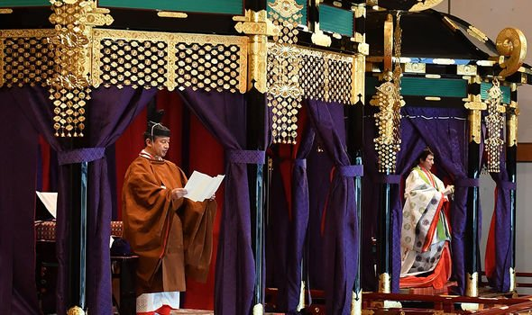 Emperor Naruhito and Empress Masako during the ceremony Image GETTY