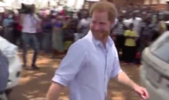 Footage shows Prince Harry being approached by a royal correspondent Image ITN