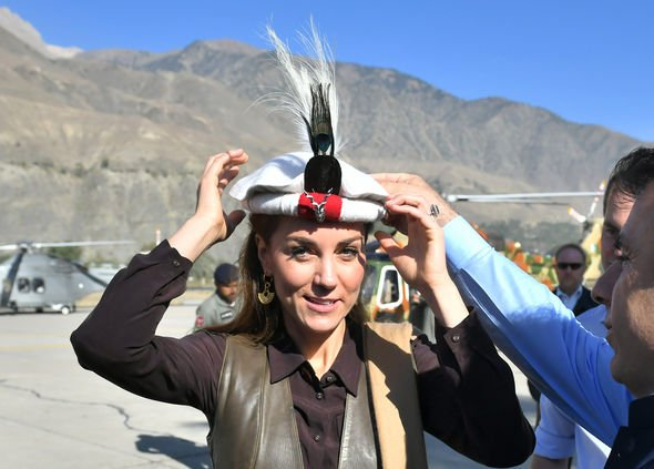 Kate Middleton was wearing a traditional Chitrali cap Image REUTERS