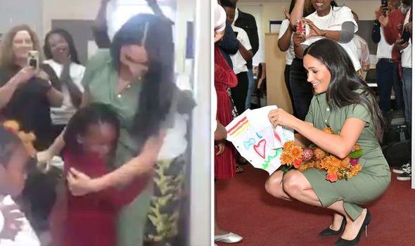 Meghan Markle visited Action Aid to learn more about gender based violence in South Africa Image TWITTER GETTY