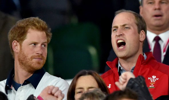 Prince Harry and Prince William attending the England v Wales match during the Rugby World Cup Image GETTY