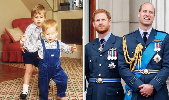 Prince Harry and Prince William in their youth and as they are today Image GETTY