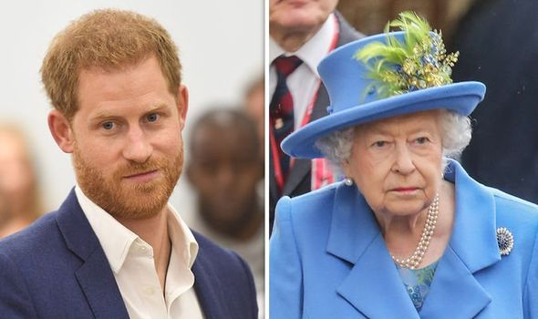 Prince Harry and his grandmother the Queen Image GETTY
