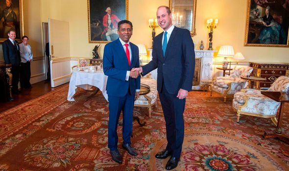 Prince WIlliam greets the president of the Seychelles at Buckingham Palace this week Image Getty