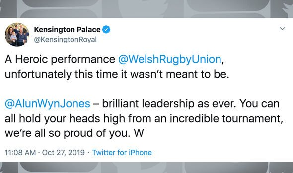 Prince William signed off the tweet with a W Image TWITTER