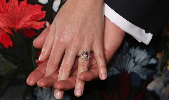 Princess Diana Princess Eugenies engagement ring features a rare sapphire centrepoint Image JONATHAN BRADY AFP Getty Images