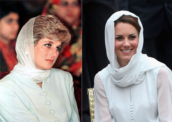Princess Diana tribute Kate Middleton and Princess Diana wearing similar outfits with headscarves Image GETTY