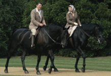 Queen Elizabeth on horseback with Ronald Raegan Image GETTY