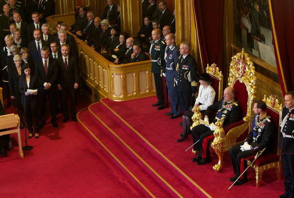 Royal shock King Harald of Norway opened the Norwegian parliament Image GETTY