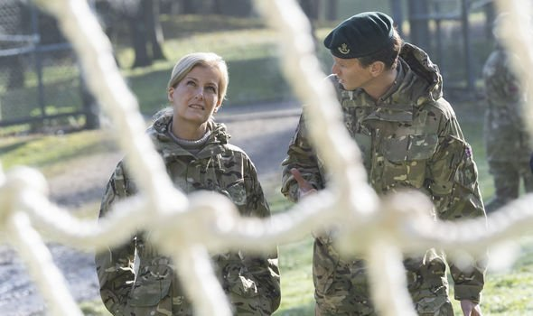 Sophie looks up at the Armed Forces obstacle course Image GETTY