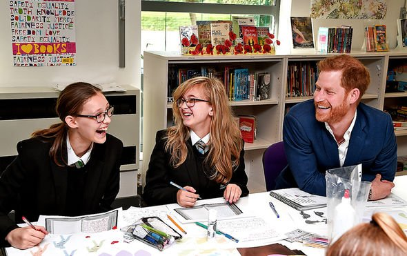 The Duke has a giggle with students at the Nottingham Academy Image Eamonn M McCormack Getty Images