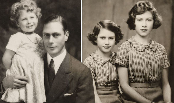 The Queen then Princess Elizabeth with her father and her sister Margaret Image BNPS