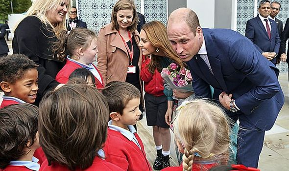 William and Kate charm children at London's Aga Khan centre yesterday Image REUTERS