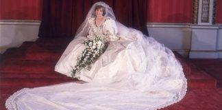 cropped Princess Dianas wedding day portrait
