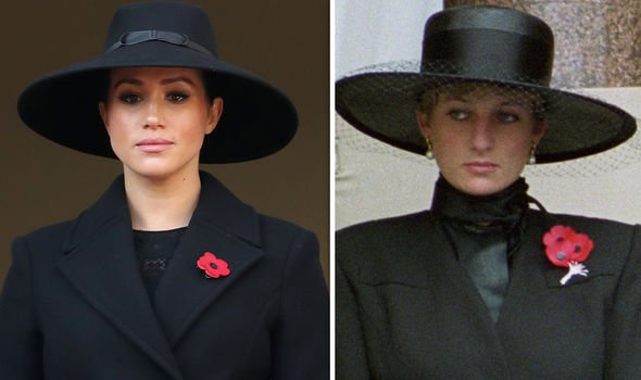 Last Sunday Meghan wore an outfit very similar to the one chosen by Princess Diana for the Remembrance Sunday ceremony Image GETTY PA