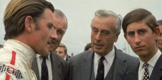 Lord Louis Mountbatten and Prince Charles speaking to racecar driver Graham Hill Image GETTY