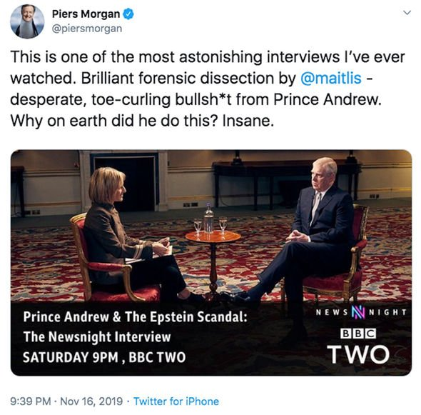Piers Morgan described Prince Andrews decision to be interviewed as insane Image @piersmorgan Twitter