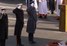 Prince Harry and Prince William in military salute on Remembrance Sunday Image BBC