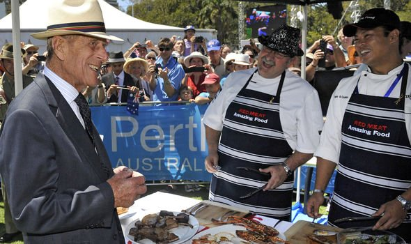 Prince Philip meets with chefs gathered in Perth for a Great Aussie Barbecue event Image GETTY