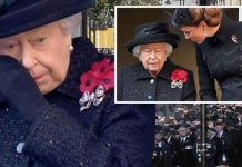 Queen Elizabeth II wiped away a tear during an emotional Remembrance Sunday service Image BBC•AFP•GETTY
