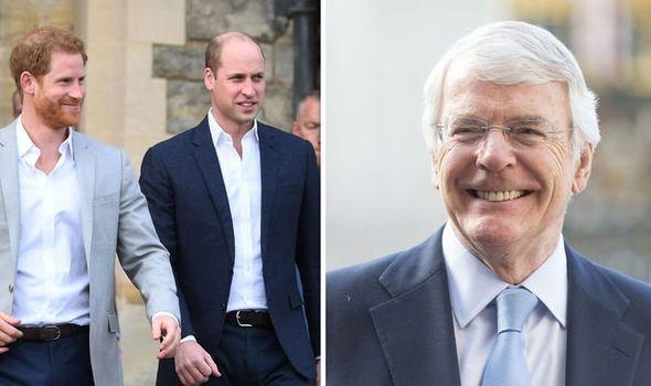 Sir John Major and Prince Harry and Prince William