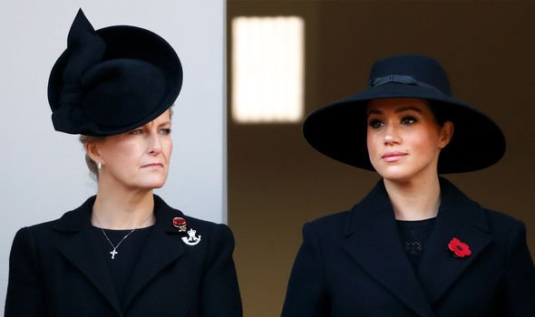 Sophie Wessex and Meghan shared the balcony on Sunday Image GETTY