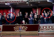 The Duke and Duchess of Cambridge circled left sat on the other side of the royal box to the Duke and Duchess of Sussex circled right