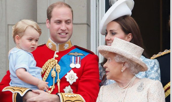 The Queen looks at her great grandchild Prince Louis