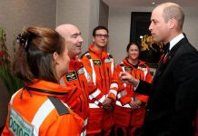 William meets air ambulance doctors paramedics and crew at gala dinner Image PA