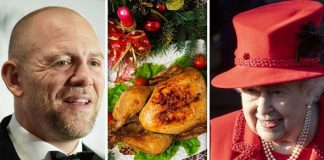 Mike Tindall has discussed the Queens pre Christmas lunch on a rugby podcast middle image is stock Image GETTY