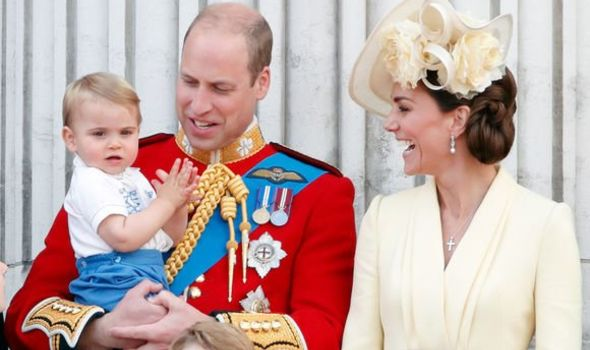Prince Louis with the Duke and Duchess of Cambridge
