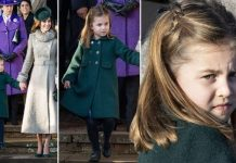 Princess Charlotte curtsied to the Queen after church at Sandringham Image GETTY