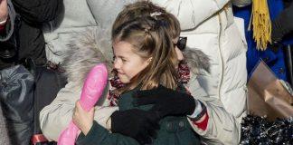 Princess Charlotte hugs a well wisher Image PA