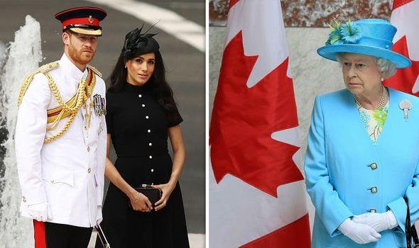 Prince Harry and Meghan Markle; Queen Elizabeth II