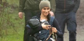 Meghan Markle took son Archie and her dogs Oz and Guy for a walk in the woods in Vancouver yesterday as her husband Harry flew in from the UK