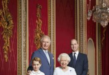 The Queen and three future kings Prince Charles Prince William and Prince George Image Ranald Mackechnie•PA