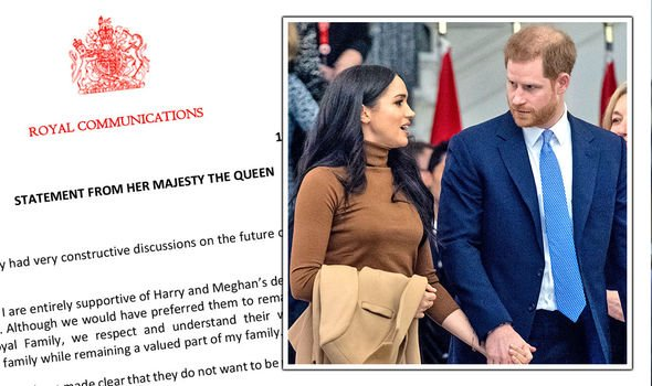 The statement from the palace about Meghan and Harry's decision