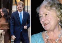 harry meghan queen mother