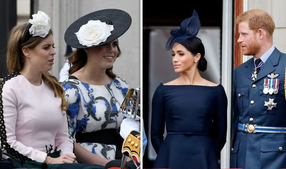 Princess Beatrice and Princess Eugenie; Prince Harry and Meghan Markle
