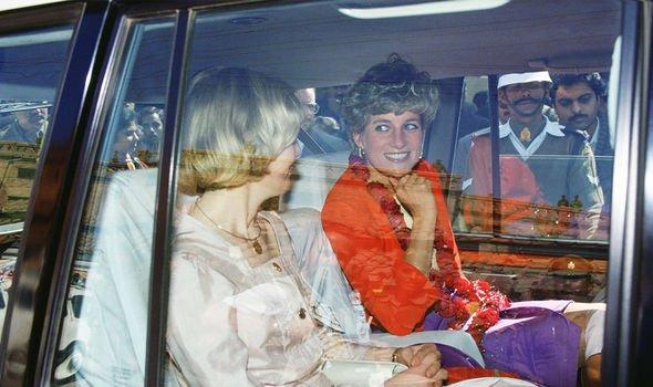 Diana on her way to the Taj Mahal, smiling