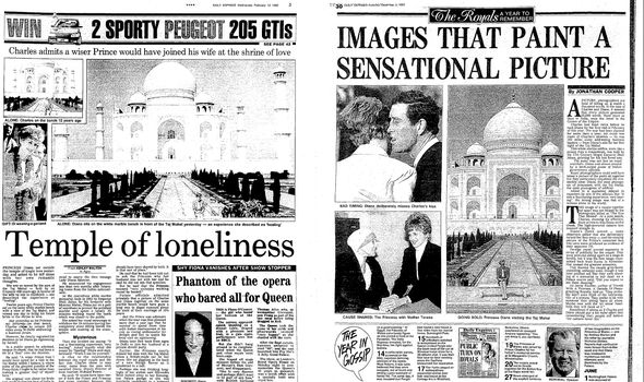 Daily Express headlines from the India tour in February 1992 and after the separation in December 1992
