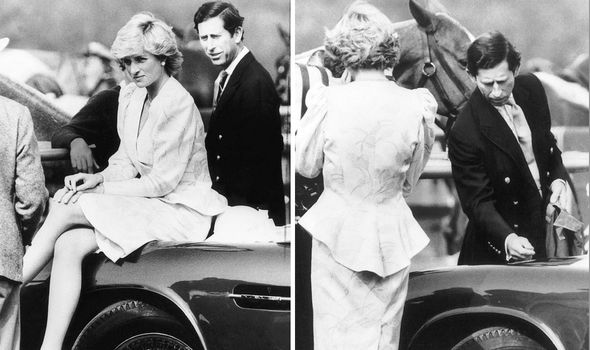 Diana and Charles got in a spat over her scratching his Aston Martin – he is seen here inspecting the paintwork