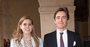 Princess Beatrice of York and her fiance Edoardo Mapelli Mozzi attend the Royal Wedding of Prince Jean-Christophe Napoleon and Olympia Von Arco-Zinneberg at Les Invalides on October 19, 2019
