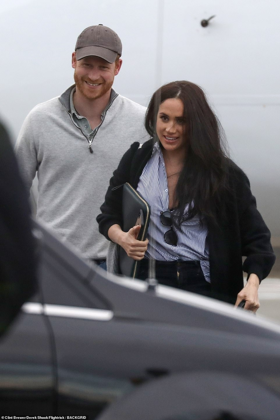 Prince Harry and Meghan Markle were seen together for the first time since Megxit as they stepped off a plane in Canada on Valentine's Day