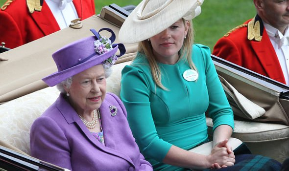 Autumn Phillips sits beside The Queen