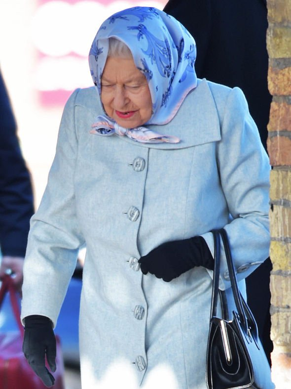 Her Majesty wore pale blue as she went to catch her train